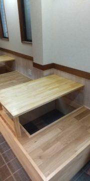 名古屋市南区にて一品料理ふじさんの改修工事を行っています(居酒屋さんの掘りごたつ)